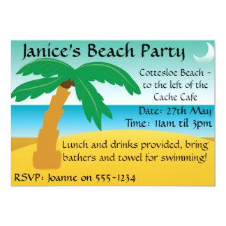 """El fiesta de la playa invita invitación 5"""" x 7"""""""