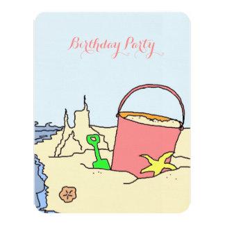 El fiesta de la playa juega la invitación de la invitación 10,8 x 13,9 cm