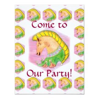 """El fiesta de los niños de los caballos del baile invitación 4.25"""" x 5.5"""""""
