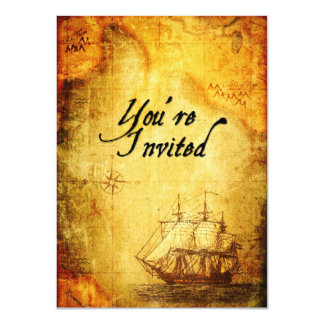 El fiesta de los piratas invita en mapa antiguo comunicado
