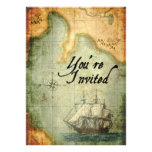 El fiesta de los piratas invita en mapa antiguo invitacion personal