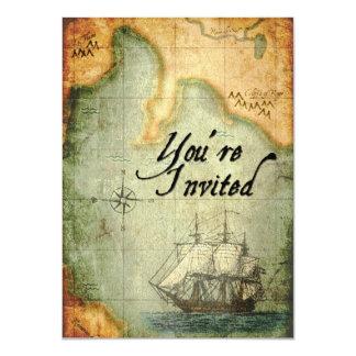 """El fiesta de los piratas invita en mapa antiguo invitación 4.5"""" x 6.25"""""""