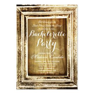 """El fiesta de madera de Bachelorette del granero Invitación 4.5"""" X 6.25"""""""