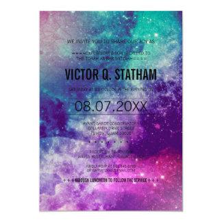 """El fiesta de Mitzvah de la barra de la galaxia Invitación 5"""" X 7"""""""