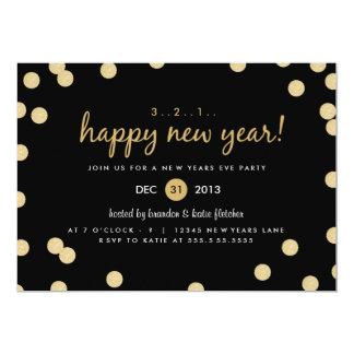El fiesta de Noche Vieja del confeti del oro Invitación 12,7 X 17,8 Cm