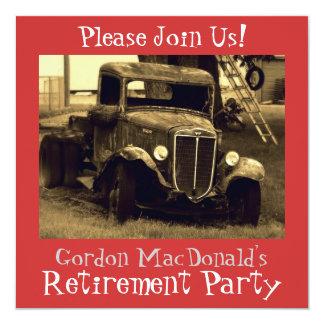 El fiesta de retiro antiguo del camión invita invitación 13,3 cm x 13,3cm