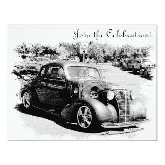 """El fiesta de retiro del coche antiguo de invitación 4.25"""" x 5.5"""""""