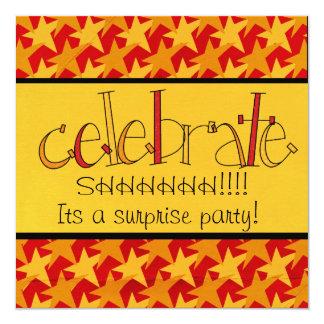 """El fiesta de sorpresa invita invitación 5.25"""" x 5.25"""""""