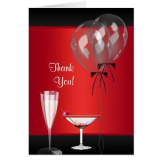 El fiesta de sorpresa rojo y negro le agradece las tarjeta pequeña