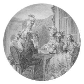 El fiesta de Whist, 1783, grabado por Jean Dambrun Platos De Comidas