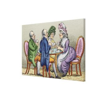 El fiesta de Whist (litho del color) Impresiones De Lienzo