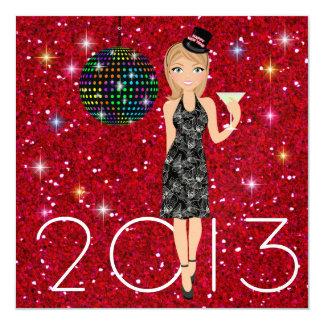 """El fiesta del Año Nuevo - SRF Invitación 5.25"""" X 5.25"""""""
