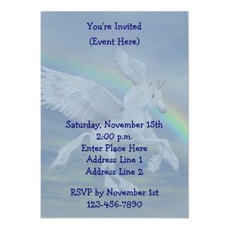 El fiesta del arco iris del unicornio del vuelo invitación 12,7 x 17,8 cm