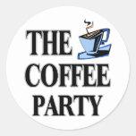 El fiesta del café etiqueta redonda