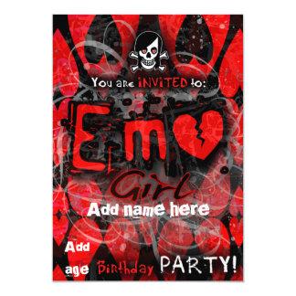 """El fiesta del chica de Emo invita Invitación 5"""" X 7"""""""