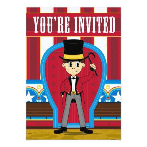 El fiesta del director de pista de circo del circo invitación personalizada