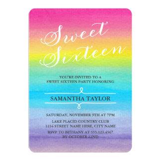 """El fiesta del dulce dieciséis del arco iris de la invitación 5"""" x 7"""""""