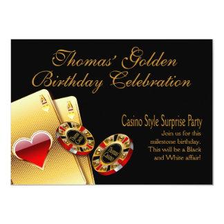 El fiesta del estilo del casino PIDE que PONGA Invitación 11,4 X 15,8 Cm