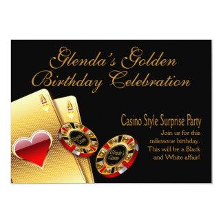 El fiesta del estilo del casino PIDE que PONGA Invitación 12,7 X 17,8 Cm