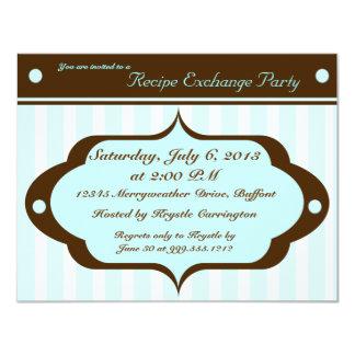 El fiesta del intercambio de la receta invita con invitación 10,8 x 13,9 cm
