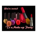 El fiesta del maquillaje invita tarjeta postal