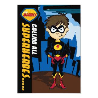 """El fiesta del muchacho del super héroe invita invitación 5"""" x 7"""""""