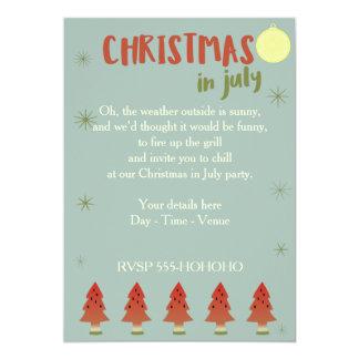 """El fiesta del navidad de los árboles de la sandía invitación 5"""" x 7"""""""