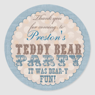 El fiesta del oso de peluche le agradece pegatina