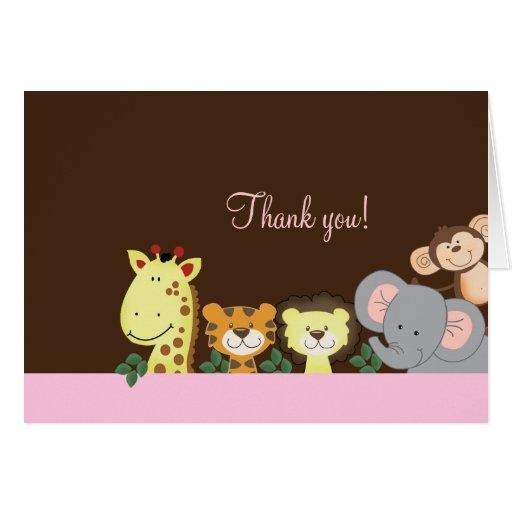 El fiesta del parque zoológico de la selva (rosa)  tarjetón