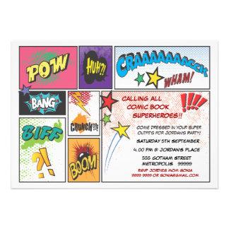 El fiesta del superhéroe de la tira del cómic del invitaciones personales