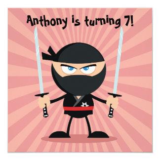 """El fiesta del tema de Ninja de los niños invita Invitación 5.25"""" X 5.25"""""""