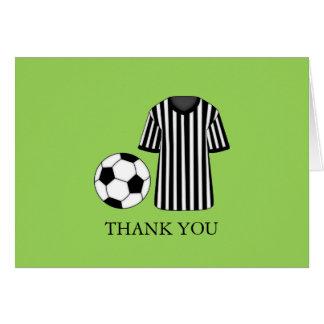 El fiesta del tema del fútbol le agradece cardar tarjeta pequeña