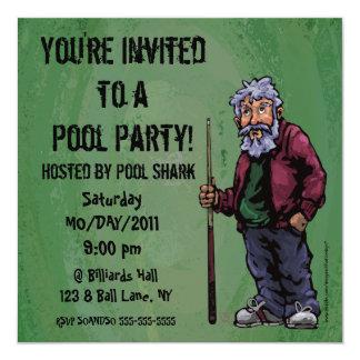 """El fiesta del tiburón de la piscina invita invitación 5.25"""" x 5.25"""""""