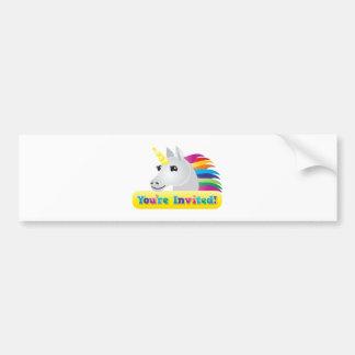 el fiesta del unicornio del arco iris invita en az pegatina para auto