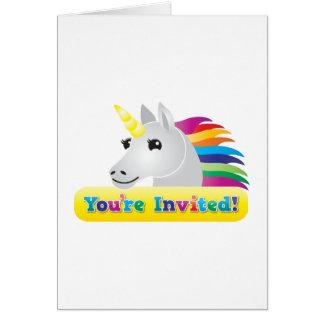 el fiesta del unicornio del arco iris invita en az tarjeta de felicitación