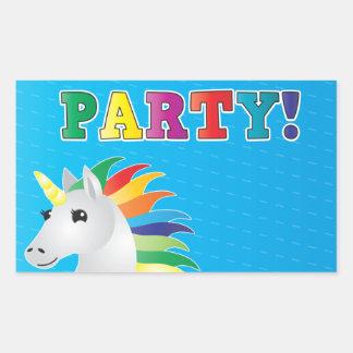 El fiesta del unicornio del arco iris invita en el pegatina rectangular