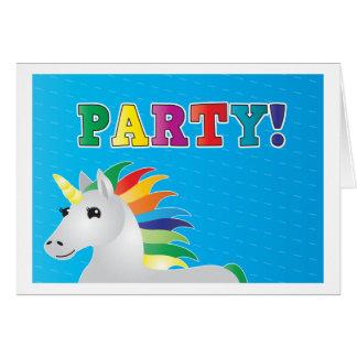 El fiesta del unicornio del arco iris invita en el tarjeta de felicitación