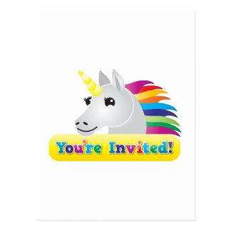 el fiesta del unicornio del arco iris invita en tarjetas postales