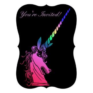 """El fiesta del unicornio del arco iris invita invitación 5"""" x 7"""""""