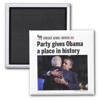 El fiesta Democratic da el lugar de Obama en histo Imanes