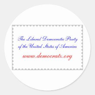 El fiesta Democratic liberal los E.E.U.U. casi un Pegatina Redonda
