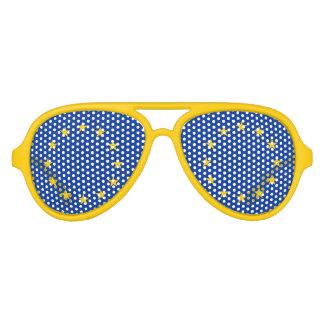 El fiesta divertido de la bandera de unión europea lentes de sol
