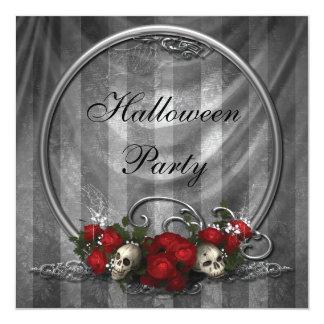 """El fiesta elegante de Halloween de los cráneos y Invitación 5.25"""" X 5.25"""""""