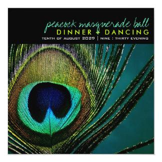 El fiesta elegante de la pluma del pavo real de la invitación 13,3 cm x 13,3cm