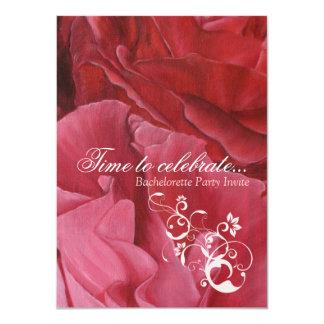 """El fiesta elegante del bachelorette de los rosas invitación 4.5"""" x 6.25"""""""