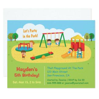 """El fiesta en el patio del parque embroma invitación 4.25"""" x 5.5"""""""