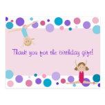 El fiesta gimnástico le agradece en rosa, púrpura  tarjeta postal