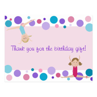 El fiesta gimnástico le agradece en rosa púrpura tarjeta postal