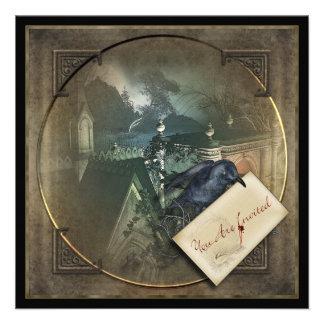 El fiesta gótico de Halloween del cuervo invita