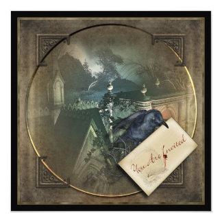 """El fiesta gótico de Halloween del cuervo invita Invitación 5.25"""" X 5.25"""""""